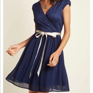 ModCloth Beautiful Bubbly navy dress L